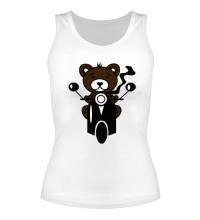 Женская майка Медведь на мотороллере