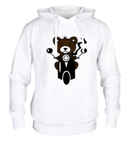 Толстовка с капюшоном Медведь на мотороллере