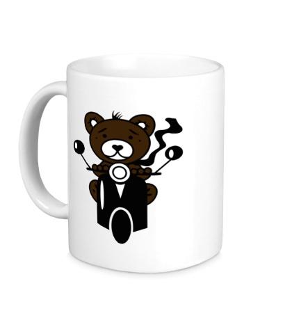 Керамическая кружка Медведь на мотороллере
