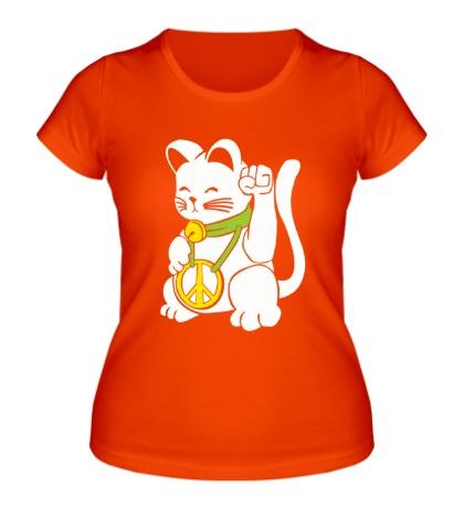 Женская футболка Кот-рокер