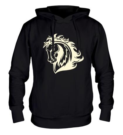 Толстовка с капюшоном Величественный конь свет