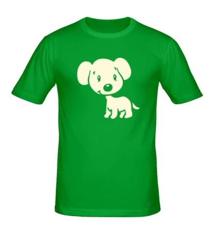Мужская футболка Милый щенок, свет