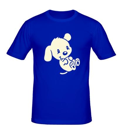 Мужская футболка Маленький щенок свет