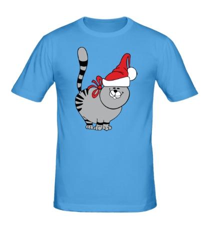Мужская футболка Новогодний кот в шапке
