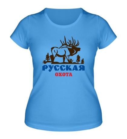 Женская футболка Русская охота на лося