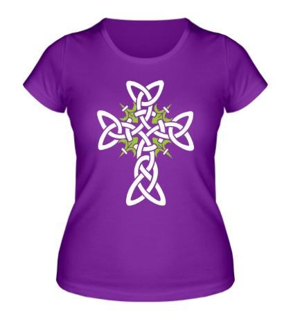 Женская футболка «Кельтский плетеный крест»