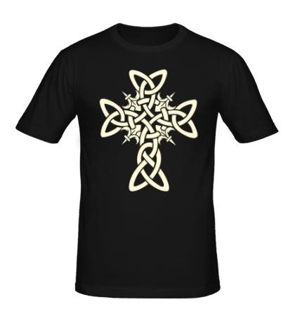 Мужская футболка Кельтский плетеный крест, свет