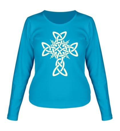 Женский лонгслив Кельтский плетеный крест, свет