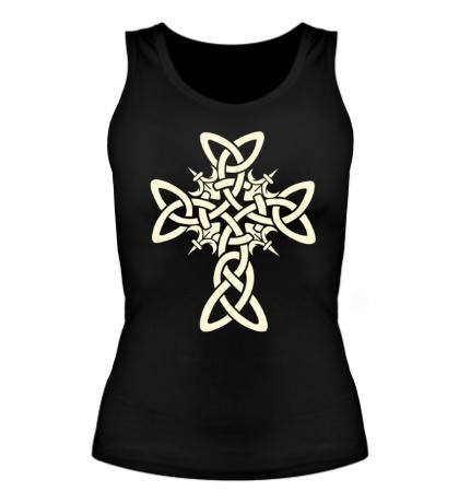 Женская майка Кельтский плетеный крест, свет