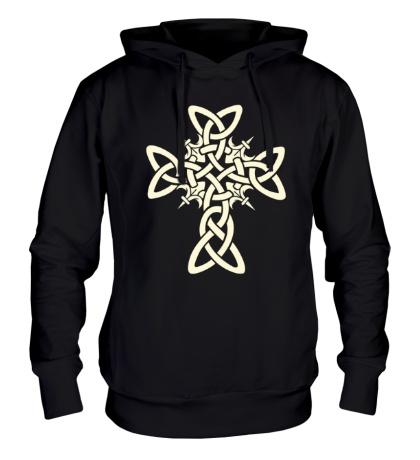 Толстовка с капюшоном Кельтский плетеный крест, свет