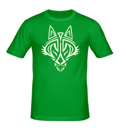Мужская футболка Волчий символ, свет