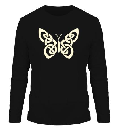 Мужской лонгслив Кельтская бабочка, свет