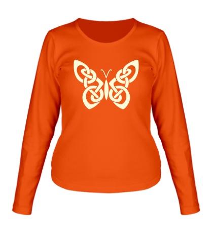 Женский лонгслив Кельтская бабочка, свет