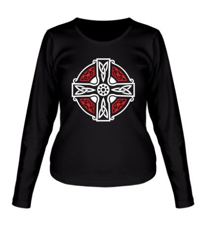 Женский лонгслив Кельтский крест с узорами