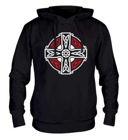 Толстовка с капюшоном Кельтский крест с узорами