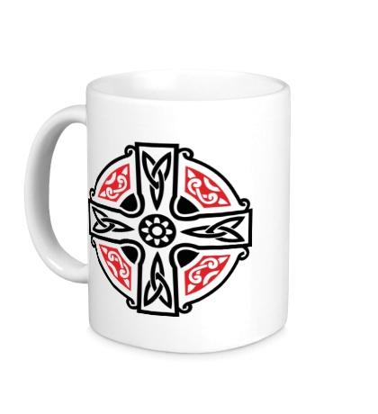 Керамическая кружка Кельтский крест с узорами