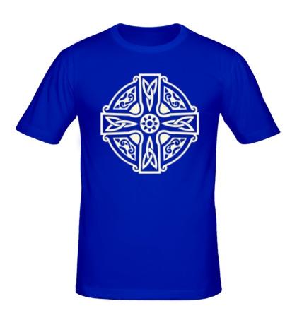 Мужская футболка Кельтский крест с узорами свет