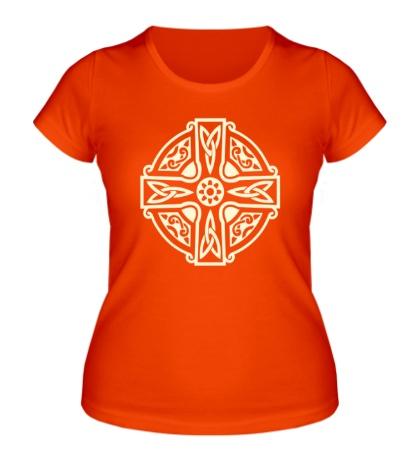 Женская футболка Кельтский крест с узорами свет