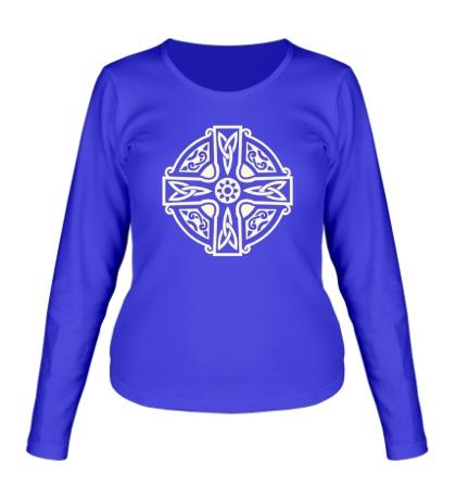 Женский лонгслив Кельтский крест с узорами свет