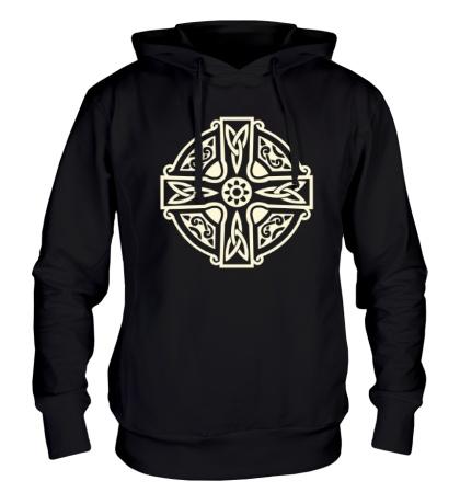 Толстовка с капюшоном Кельтский крест с узорами свет