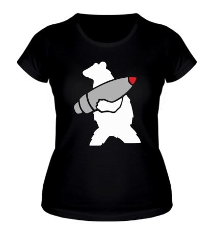 Женская футболка Медведь с боеголовкой