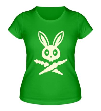 Женская футболка Кролик-пират, свет
