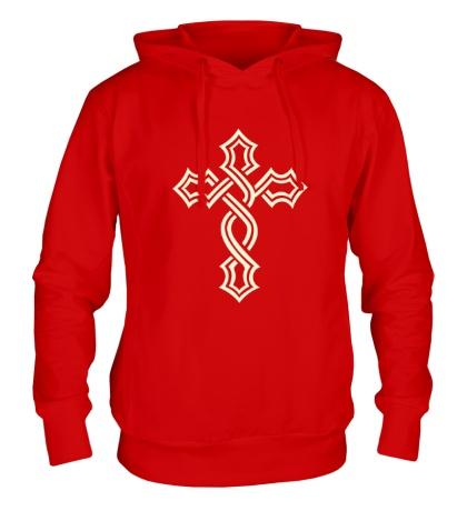Толстовка с капюшоном Татуированный крест, свет