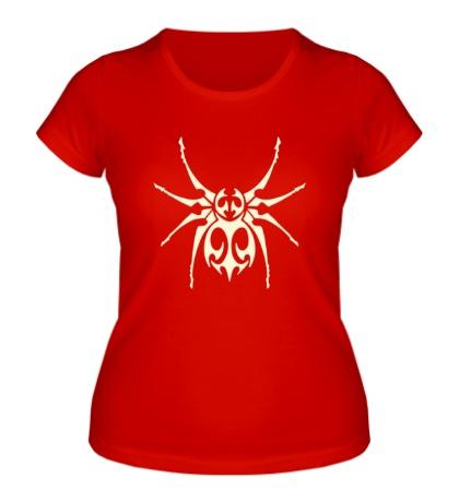 Женская футболка Тату паук, свет