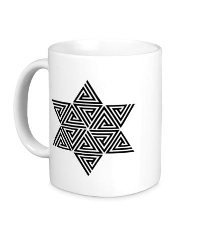 Керамическая кружка Меркаба: цветок жизни