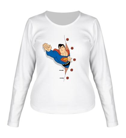 Женский лонгслив Выглядывающий Супермен