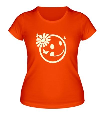 Женская футболка Бабочки цветочки свет