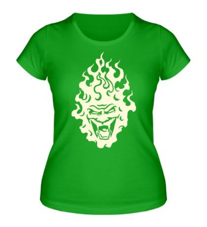 Женская футболка Огненный демон свет