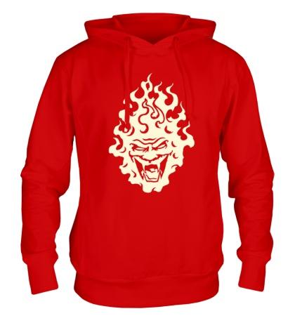 Толстовка с капюшоном Огненный демон свет