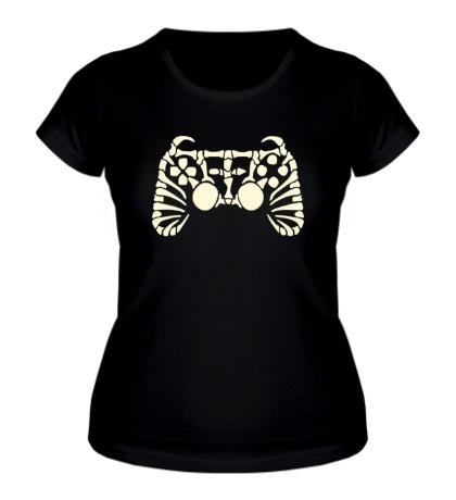 Женская футболка Скелет джойстика, свет