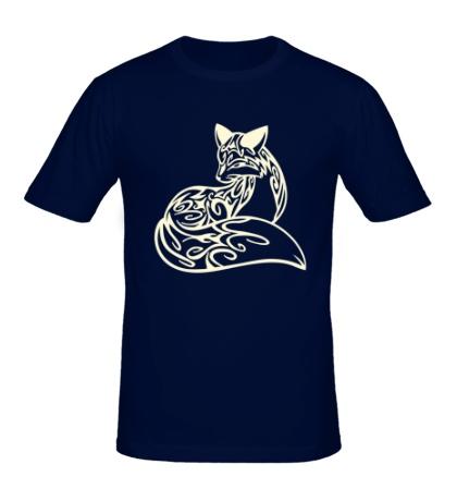 Мужская футболка Расписная лиса, свет