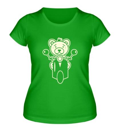 Женская футболка Медведь на мотороллере свет