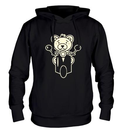 Толстовка с капюшоном Медведь на мотороллере свет