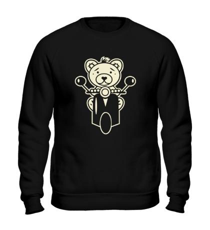 Свитшот Медведь на мотороллере свет