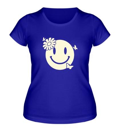 Женская футболка Улыбка бабочки цветочки свет