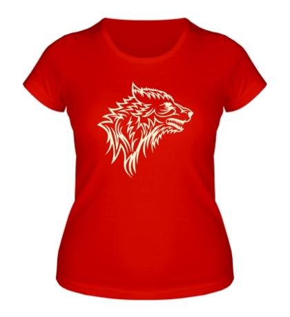 Женская футболка Тату волк, свет