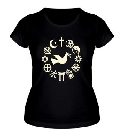 Женская футболка Дружба религий свет