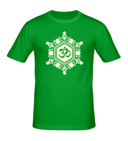 Мужская футболка Ом символ в узорах свет