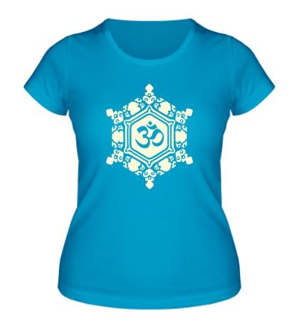 Женская футболка «Ом символ в узорах свет»