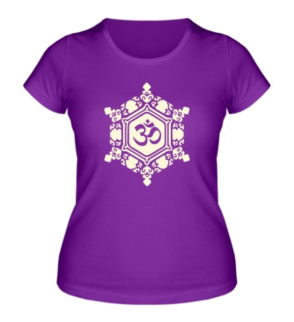 Женская футболка Ом символ в узорах свет