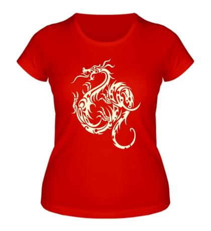 Женская футболка Тату дракон, свет