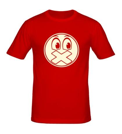 Мужская футболка Смайл с заклеенным ртом свет