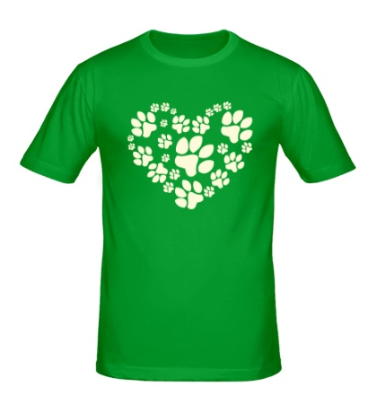 Мужская футболка Сердце из собачьих следов свет
