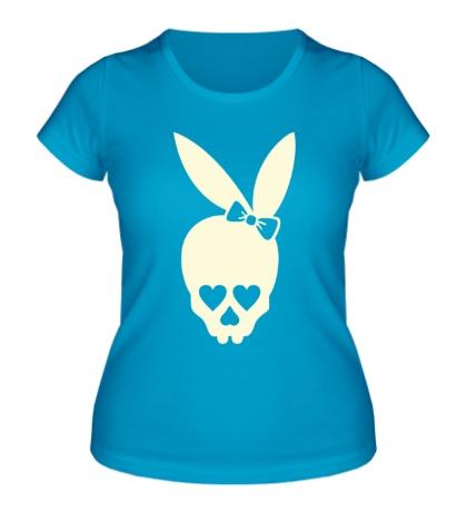 Женская футболка Череп зайца, свет