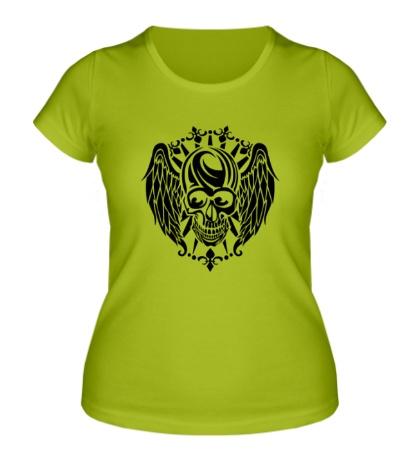 Женская футболка Крылатый череп