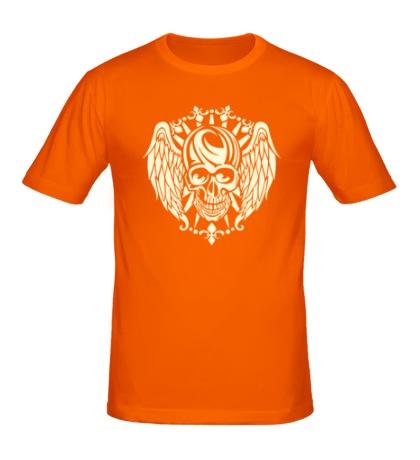 Мужская футболка Крылатый череп свет